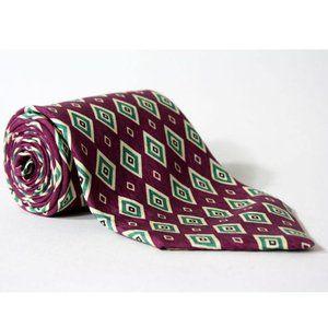 Vtg Polo Ralph Lauren Purple Diamonds Silk Necktie